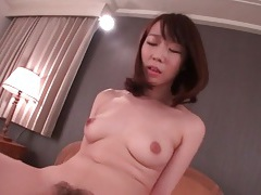 Hairy japanese pussy slowly rides his cock tubes