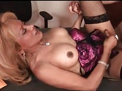 Tgirl dressed in lingerie gets fucked up the ass tubes