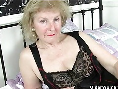 Sensual granny tease gently masturbates her cunt tubes