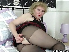 Big granny ass is sexy in sheer pantyhose tubes