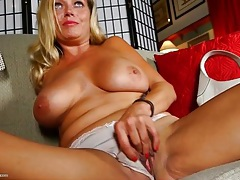 Milf is awfully pretty as she masturbates solo tubes