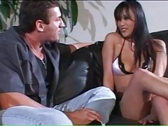 Babe in bikini lingerie strips and sucks him tubes