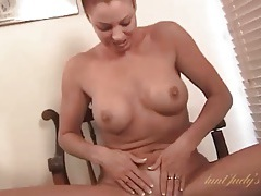 Cute amateur milf strips and fingers her cunt tubes