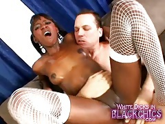 Firm body black girl covered in oil and riding dick tubes