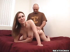 He eats out a busty hottie and fucks her doggystyle tubes
