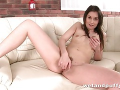 Teen pussy with lovely pubic hair gets fingered tubes