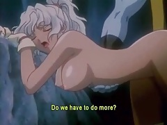 Blue creature fucks a sexy hentai girl in her cunt tubes