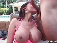 Perfect big fake titties on this lusty cocksucker tubes