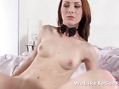 Flawless redhead sensually sucks on his dick tubes