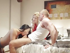 Blonde hottie joins a couple and sucks dick tubes
