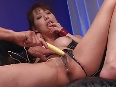 Shiny bikini is sexy as hell on a japanese squirter tubes