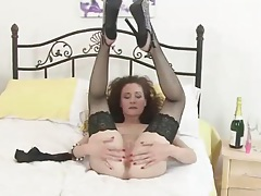 Lace top fishnets are dazzling on a solo milf tubes