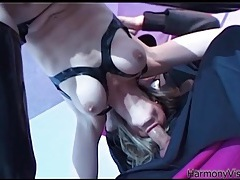 Hot blowjob from a slut in shiny black latex tubes