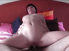 Amateur with truly perfect tits grinds on his cock tubes