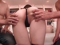 Eager tongues lick her japanese pussy and ass tubes