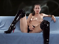 Mistress in latex boots makes you smoke tubes