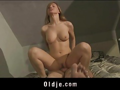 Fresh young pussy rides old man cock tubes