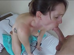 Babe rides her vibrator and sucks your cock tubes