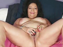 Sexy old latina is chatty as she masturbates tubes