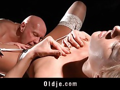 Bald old guy fucks a girl in stockings tubes