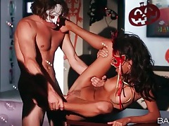 Naked masked couple has great sex after the party tubes