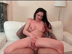 Long haired beauty strips nude for great sex tubes