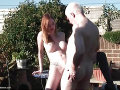 Teen redhead pounded outdoors by grandpa dick tubes