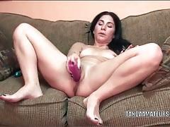 Amateur with two nipple rings fucks her big dildo tubes
