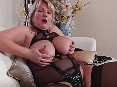 Kinky mesh lingerie on a busty mature babe tubes