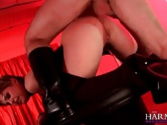 Kinky anal fuck with a little tits girl in leather tubes