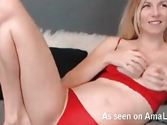 Pregnant blonde webcam girl tit fucks her toys tubes