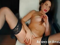 Webcam model in sexy lipstick and stockings tubes