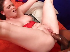 Chubby white babe stretched to the limit by bbc tubes