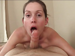 Wet and sexy blowjob in pov from a cute brunette tubes