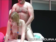 Braided pigtails girl bends over for dick from behind tubes