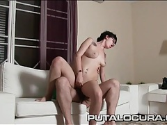 Glasses girl rides until he cums in her pussy tubes