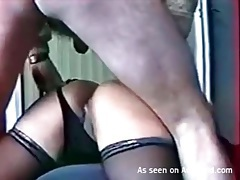 Hubby dumps a creampie into her tight asshole tubes