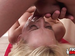 Her throat expands around a fat cock tubes