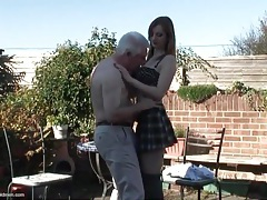 Young redhead with stunning tits blows grandpa tubes