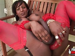 Black tranny in stockings toy bangs her asshole tubes