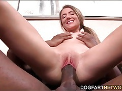 Skinny chick slowly impales her cunt on a huge dick tubes