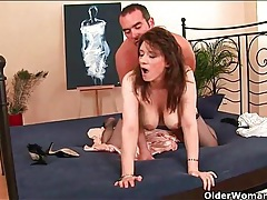 Mom strips from her satin robe and gets fucked tubes