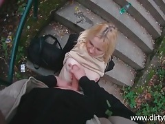 He cums on her sexy teen tits outdoors tubes