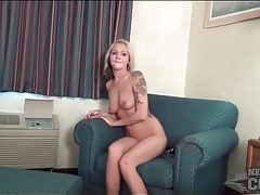 Tattooed college girl shows her bald pussy tubes