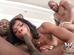 Her wet black holes service two big dicks tubes