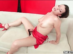 Beauty in soft red satin lingerie masturbates tubes