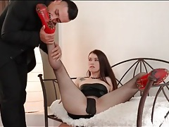 Her high heels and fishnet feet taste good tubes