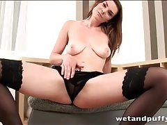 Sheer blouse and black lingerie on a solo babe tubes