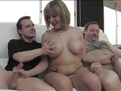 Milf gives her hot body to two guys to use tubes