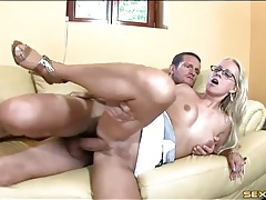 Blonde in sexy glasses fucked until he cums tubes